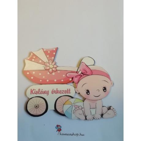 Ajtótábla kislány érkezett babás