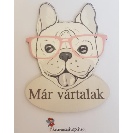 Ajtótábla kutyás francia bulldog szemüveges